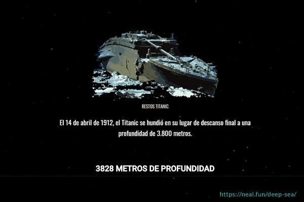 titanic metros profundidad