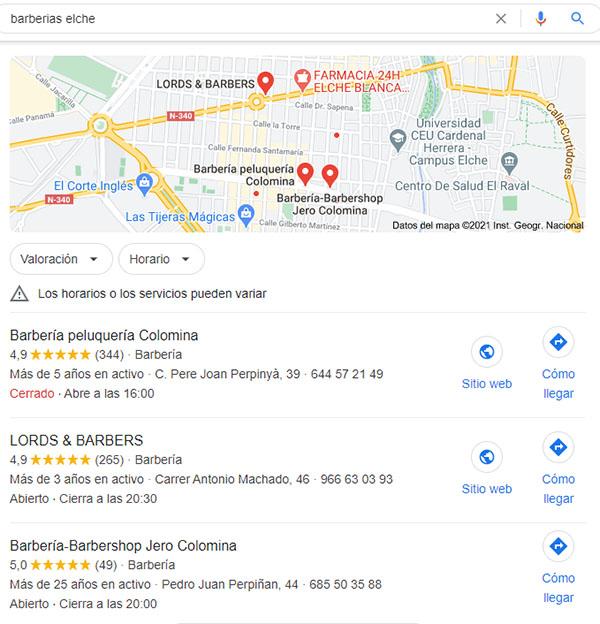 Conocido como el pack de 3 local de Google My Business, los 3 primeros resultados de la búsqueda